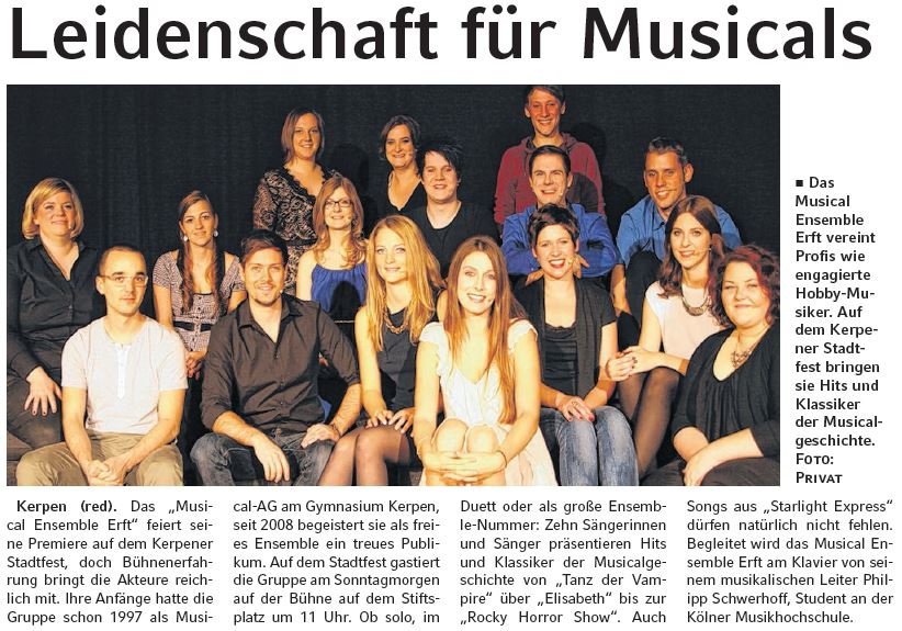 Musical Ensemble Erft - Werbe Post