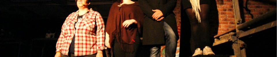 """""""Anrufbeantworter"""" - Sarah Wichmann, Barbara Becker, Tim Stranowsky, Anja Boden - RENT - Musical Ensemble Erft, September 2012, Kerpen - (c)Bernd Woidtke"""