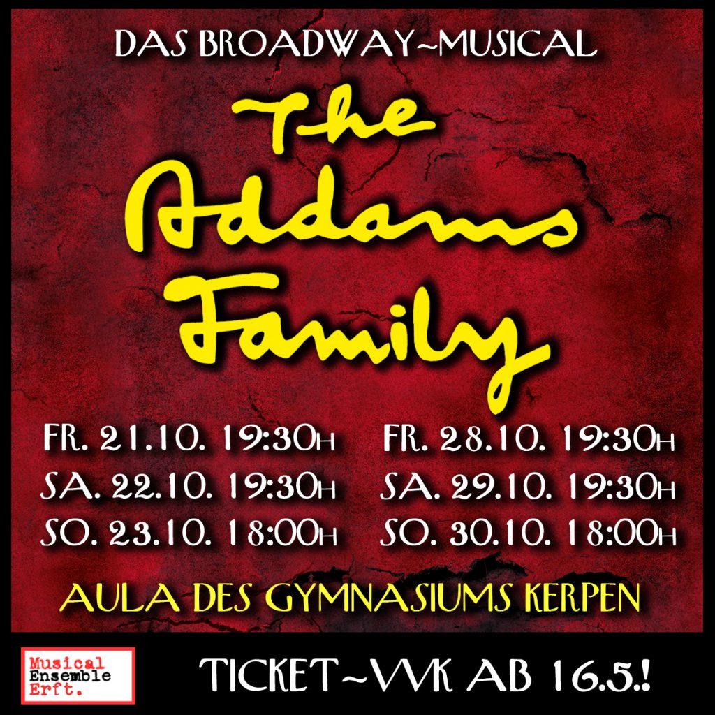 Aufführungstermine 'The Addams Family', präsentiert vom Musical Ensemble Erft