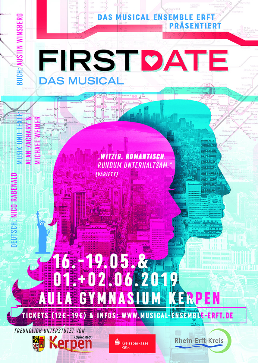 Artwork Musical FIRST DATE - Musical Ensemble Erft - Design: Thomas Atzenbeck
